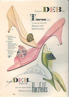 Chronically Vintage: How to wear pink (and not look like a little girl in the process! Mode Vintage, Vintage Shoes, Vintage Ads, Vintage Posters, Vintage Style, Vintage Woman, 1950s Style, Vintage Accessories, 1950s Fashion