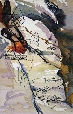 "Olga Popova Russian Tapestry Weaver  Ольга Попова ""UNDERGROUND"" 265х138, 2005, БГХМ"