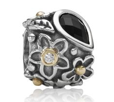 Pandora Charms - Pandora Silver 14ct Gold Onyx and Diamond Mother Nature Charm 790540O
