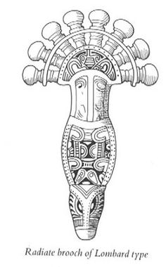 Drawing of a 6th century radiate brooch in a Lombardic style, similar to the Miracle brooch design. (Philip Dixon 1976, Barbarian Europe, p.141)