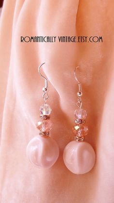 Chiffon  Pink Beaded Earrings  Boutique by RomanticallyVintage, $21.50