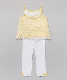 Look what I found on #zulily! Yellow Lace Tunic & White Leggings - Infant, Toddler & Girls #zulilyfinds
