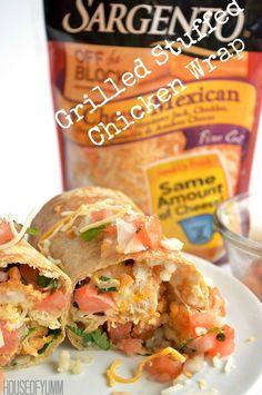 Grilled Stuffed Chicken Wrap. Cilantro Lime Couscous, Garden Fresh Salsa, Chicken and @SargentoCheese #ad #ChoppedatHome