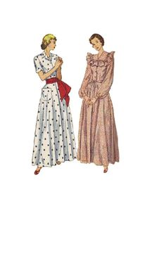 Simplicity 2437 Sewing Pattern 50s Full Length Dress Housecoat Long Bishop Sleeves Button Bodice Flared Skirt Ruffle Trim Tie Belt Bust 32 Uncut