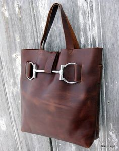 Dark Green Leather Horse Bit Harness Tote by Stacy by stacyleigh