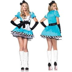 """Alice in Wonderland Costume  Leg Avenue """"Charming Alice"""" Costume  Includes: - Dress (S/M) - Layered Tulle Petticoat (OS/90-160lbs) - White Stockings with Bow (OS)  Does not include: - Bow Headband - Black Gloves  Worn once on Halloween 2015 and is still in great condition.All of the pieces cost me around $100. Leg Avenue Other"""