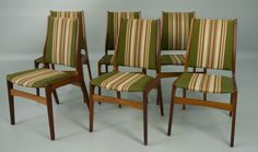 Six 6 High Back Danish Modern Teak Dining Chairs
