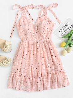 Polka Dot Ruffle Hem Cami Dress - Summer Dresses for Women Cute Summer Outfits, Trendy Outfits, Trendy Fashion, Korean Fashion, Summer Dresses, Womens Fashion, Pink Fashion, Fashion Styles, Fashion Fashion