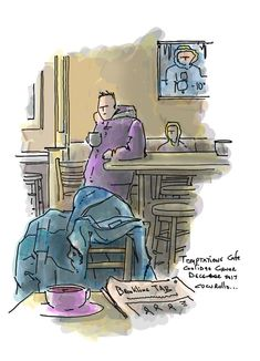 """the iceman cometh..."" Brookline MA cold snap sends the temperature below zero #brookline #coolidgecorner #cafemike cucurullo #cafesketch #urbansketch Winter, Eugene O'neill"