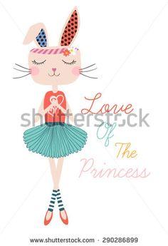 Beautiful romantic rabbit girl/cute girl/T-shirt Graphics/illustration princess girl/Vector Cute beautiful ballerina girl/design for children's books/rabbit vector/ballerina rabbit graphic/vector girl