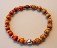 Men's Burly & Saddle Brown Wood Cross Stretch Bracelet by SoFineDesigns on…