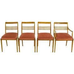 Four Renzo Rutili  Walnut & Upholstered Dining Chairs, $3,400 (in Chicago) 33 in. (84 cm) WIDTH:20 in. (51 cm) DEPTH:22 in. (56 cm)