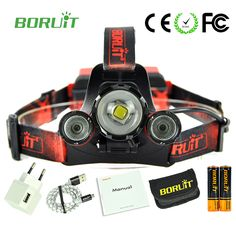 3 LED Boruit 5000 lumens Red light Torch flashlight Head lamp forehead led headlamp zoomable usb rechargeable bike headlight