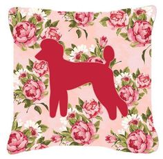 Poodle Shabby Chic Pink Roses Fabric Decorative Pillow BB1114-RS-PK-PW1414