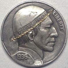 GEDIMINAS PALSIS HOBO NICKEL - GOLD RIM SCROLL HAT BAND DERBY - 1936 BUFFALO PROFILE Hobo Nickel, Metal Clay Jewelry, Dollar Coin, Buffalo, Classic Style, Derby, Coins, Carving, Profile
