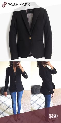 "🆕NWT J.Crew Campbell Blazer in Black Wool Flannel [M O R E P I C T U R E S C O M I N G S O O N!] Simple and classic black wool blazer from J.Crew. This is a tall size so it will be longer in the sleeves and the body (by approximately 2""). New without tags, never worn, completely sold out from J.Crew! ❌NO TRADES❌NO LOWBALLING❌ J. Crew Jackets & Coats Blazers"