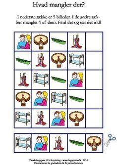 I den nederste rkke er der 5 billeder, som du kan klippe ud. Find, hvad der mangler i hver af de verste rkker, og lim det manglende billede ind. Alle billederne begynder med /k/.