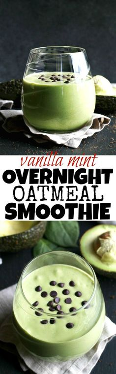 Getting those greens in is super easy with this deliciously creamy Vanilla Mint Overnight Oatmeal Smoothie!   runningwithspoons.com #vegan #glutenfree #healthy #recipe
