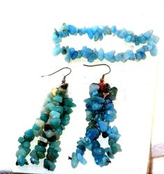 """Genuine tumbled gemstones. Blue Aquamarine Bracelet. set of 4"""" drop earrings. matching bracelet. and Dangle Earrings. free form and a stretchy. are fashioned in a Gorgeous. 