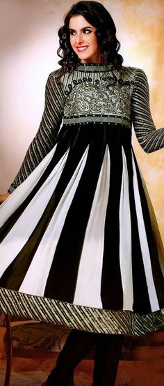 #Black and #White Faux #Georgette #Churidar #Kameez @ US $109.37 | Shop Here: http://www.utsavfashion.com/store/sarees-large.aspx?icode=ksx742