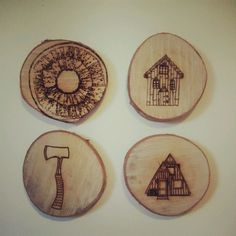 Heather Riches - Laser engraved wood (My parents now use these as coasters!)