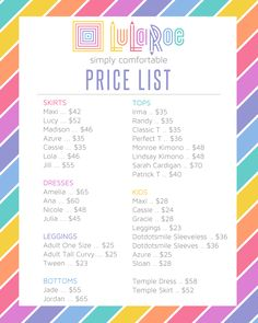 photograph relating to Lularoe Price List Printable named 26 Most straightforward LuLaRoe Rates Dimensions pics within 2018 Lularoe