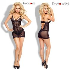 Obsessive - Sexy schwarzes L'Eternelle Chemise inkl. String-Tanga Gr.S/M - L/XL