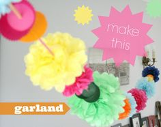 make a paper garland using cupcake wrappers, straws and tissue paper