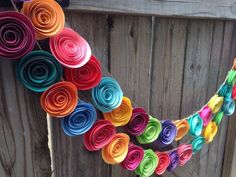 Paper Flower Garland. Colorful paper flower garland, neon paper flowers