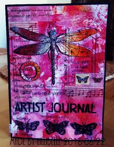 Stamped card made with rubber stamps and mixed media