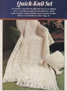 Aran Quick Knit Afghan Knitting Pattern