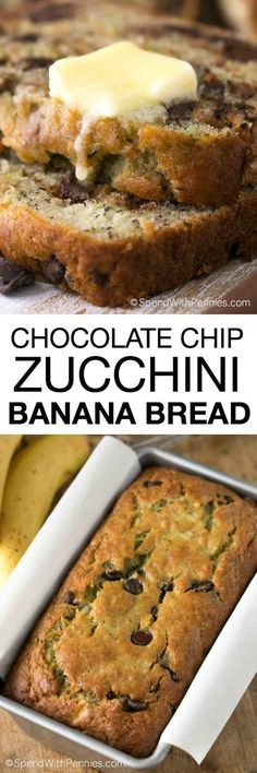 Chocolate Chip Zucchini Banana Bread is the most delicious way to enjoy your ripe bananas and garden fresh zucchini! Packed with fruit, veggies and luscious chocolate chips, this is one recipe you can(Zucchini Chocolate Muffins) Banana Recipes, New Recipes, Cooking Recipes, Favorite Recipes, Healthy Recipes, Sweets Recipes, Fruit Recipes, Celiac Recipes, Layer Cakes
