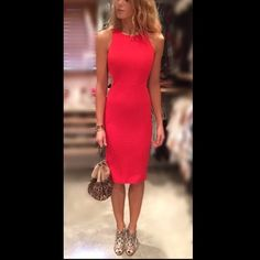 Pretty open back midi length red dress New and not used. Stand out in red. No trades Dresses Midi