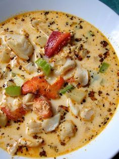 Beaucoup Seafood Chowder Got plans for the weekend? Make this chowder instead. It will be worth it. You can always make new friends. I've been eating this chowder since forever. Rosie Beaucoup has always made it. Crab Chowder, Chowder Soup, Chowder Recipes, Sea Food Chowder, Best Seafood Chowder Recipe, Fish Recipes, Seafood Recipes, Dinner Recipes, Cooking Recipes