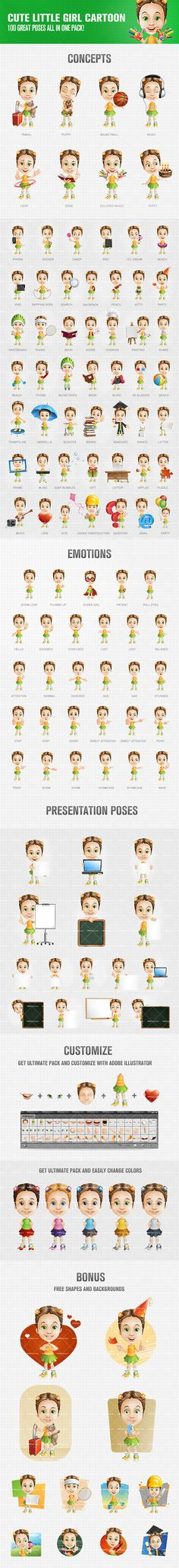 Cute little girl cartoon character that will help you to liven up your artworks and make them more animated and attractive. Our little lady here comes in 100 vibrant poses   12 extra bonus shapes and backgrounds. Check it out! Continue reading →