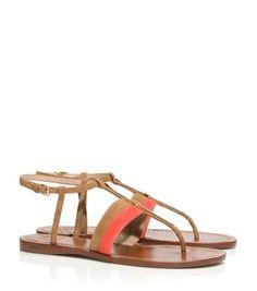 e3a272e985f01f BAR LOGO FLAT SANDAL - POPPY CORAL NATURAL BARK Miller Sandal
