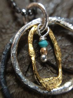 Triple hoop turquoise silver necklace by MetalStudioThailand,