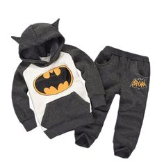 An action-packed Batman graphic gives your boys' Batman hoodie and pants set a cool look that your little hero will love. Its so COZY too! Please note: This item takes 2-3 weeks to ship out!