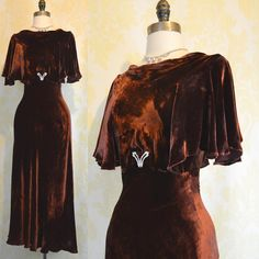 Vintage 30s Dress XS S - Chocolate Velvet - Deco Cape Sleeves on Etsy, Sold