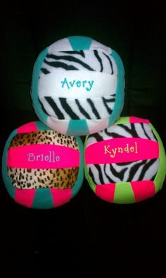 Cute plush volleyballs with girls names on them  ~KraftsbyKrystin