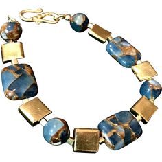 Teal Blue Gold Quartz Collage & Vermeil Bracelet, 8-1/4 Handcrafted artisan jewelry at Ruby lane #rubylane @rubylanecomInches