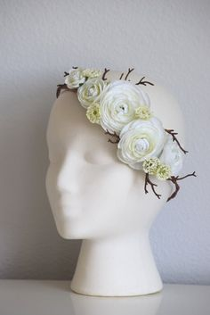 A personal favorite from my Etsy shop https://www.etsy.com/listing/266198295/white-ranunculus-coral-floral-crown
