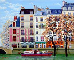"""Cellia Saubry, """"Paris, The Seine Flood"""",   French Naive Artist"""