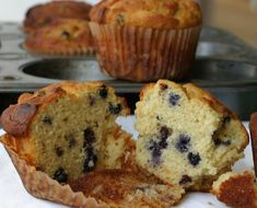 Blueberry Corn Muffins -- gluten free and dairy free (corn flour, almond flour, honey, baking powder, salt, egg, butter, coconut or almond milk, blueberries)