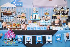 Sweets Delight – Party Planner, Sweet Corner, and Goodie Bags for your party One Year Birthday Cake, Boss Birthday, Dessert Table Birthday, Baby Birthday Cakes, Birthday Party Tables, 1st Boy Birthday, Boy Birthday Parties, Birthday Ideas, Boss Baby