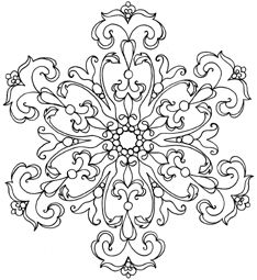 Damask Snowflake  This would make a cool tattoo.