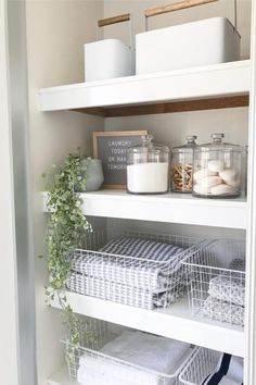 Happy Sunday 🌿 I finished our linen closet/laundry storage today and I'm so happy with the end result 🙈 in our new house we don't have a… Small Linen Closets, Bathroom Linen Closet, Bathroom Closet Organization, Bathroom Organisation, Organization Ideas, Storage Ideas, Airing Cupboard Organisation, Bathroom Ideas, Kmart Bathroom