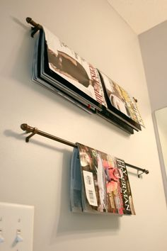 green DIY magazine rack for bathroom