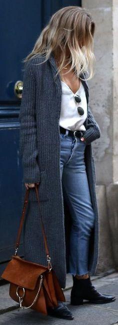 Fashion Cognoscenti Inspiration: Warm Fall Days/ Denim/ brown bag