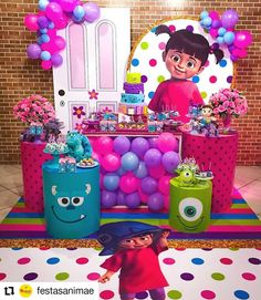 Monsters Inc Girl, Monsters Inc Baby Shower, Monster Inc Birthday, Monster Inc Party, 1st Birthday Party Themes, Girl First Birthday, Baby Birthday, Monsters Inc Halloween, Monster Inc Cakes